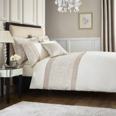 Catherine Lansfield Luxury Ornate Jacquard Duvet Cover Set - Cream Natural
