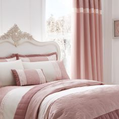 Luxury Gatsby Lined Tape Top Curtains - Blush Pink