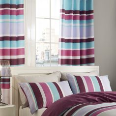 Catherine Lansfield Textured Stripe Lined Eyelet Curtains - Purple / Multi