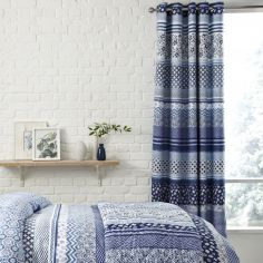 Catherine Lansfield Santorini Blue Fully Lined Eyelet Curtains