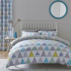 Catherine Lansfield Scandi Geo Reversible Duvet Cover Set - Teal Blue / Multi