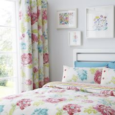 Stab Stitch Floral Lined Eyelet Curtains - Multi
