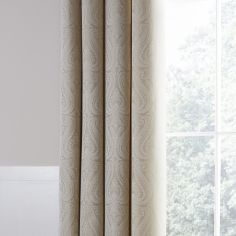 Luxury Ornate Jacquard Fully Lined Eyelet Curtains - Cream Natural