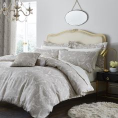 Catherine Lansfield Luxury Opulent Jacquard Duvet Cover Set - Champagne / Natural