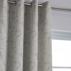 Catherine Lansfield Luxury Opulent Jacquard Fully Lined Eyelet Curtains - Champagne / Natural