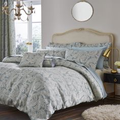 Catherine Lansfield Luxury Opulent Jacquard Duvet Cover Set - Duck Egg Blue