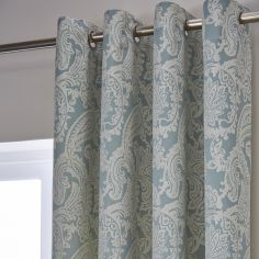 Catherine Lansfield Luxury Opulent Jacquard Fully Lined Eyelet Curtains - Duck Egg Blue