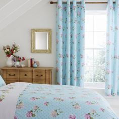Embroidered Floral Eyelet Curtains - Duck Egg Blue & Pink