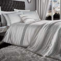 Glamorous Diamante Bands Bedspread - Pearl White