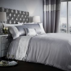 Catherine Lansfield Luxor Jacquard Duvet Cover Set - Silver
