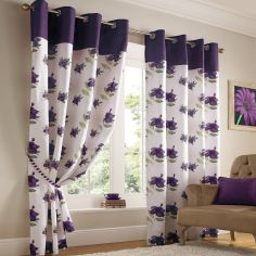 Hibiscus Floral Fully Lined Eyelet Curtains - Purple