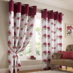 Hibiscus Floral Fully Lined Eyelet Curtains - Red