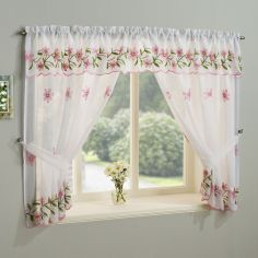 Daisy Net Curtain Window Set - Pink