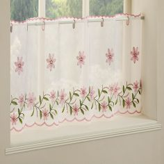 Daisy Embroidered Café Net Panel - Pink