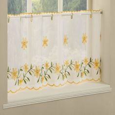 Daisy Embroidered Café Net Panel - Yellow