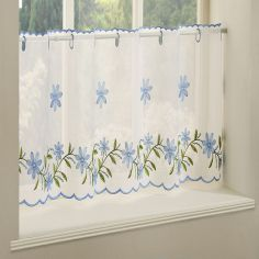 Daisy Embroidered Café Net Panel - Blue