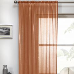Vertigo Striped Voile Curtain Panel - Orange