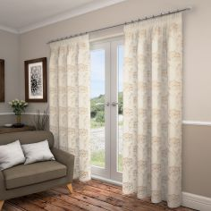 Lotus Floral Fully Lined Voile Curtains - Champagne Gold