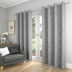 Saturn Fully Lined Eyelet Curtains - Silver Grey