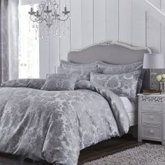 Catherine Lansfield Jacquard Damask Duvet Cover Set - Silver