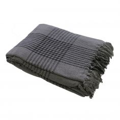 100% Cotton Plaid Check Throw - Grey