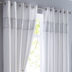 Shimmer Sequin Fully Lined Ring Top Curtains - White