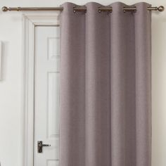 Self-Lined Thermal Blackout Linen Look Ring Top Door Curtain - Silver Grey