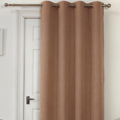 Self-Lined Thermal Blackout Linen Look Ring Top Door Curtain - Mocha Oatmeal