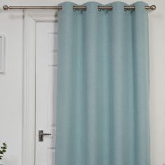 Self-Lined Thermal Blackout Linen Look Ring Top Door Curtain - Duck Egg Blue