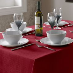Linen Look Tablecloth - Red