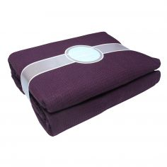 100% Cotton Honeycomb Woven Blanket Throw - Aubergine/ Purple