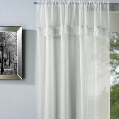 Savannah Slot Top Voile Curtain Panel - Cream