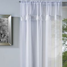 Savannah Slot Top Voile Curtain Panel - White