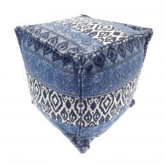 Moroccan Ethnic Aztec Pod Footstool Cushion Rest - Indigo Blue