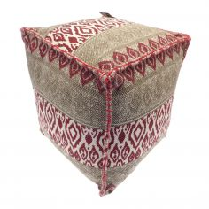 Moroccan Ethnic Aztec Pod Footstool Cushion Rest - Natural Red