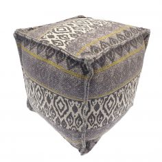 Moroccan Ethnic Aztec Pod Footstool Cushion Rest - Grey Ochre