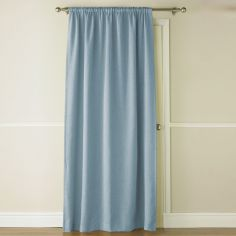 Self-Lined Thermal Blackout Linen Look Door Curtain - Duck Egg Blue