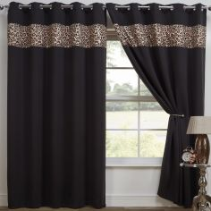 Leopard Print Eyelet Thermal Blackout Curtains - Black