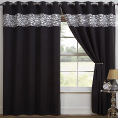 Zebra Print Eyelet Thermal Blackout Curtains - Black