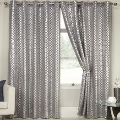 Lusaka Geometric Glitter Eyelet Thermal Blackout Curtains - Silver Grey