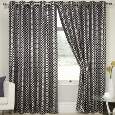Lusaka Geometric Eyelet Thermal Blackout Curtains - Black