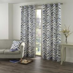 Kato Chevron Eyelet Ring Top Fully Lined Curtains - Blue Cream
