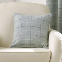 Burton Check Cushion Cover - Duck Egg Blue