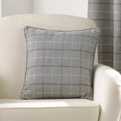 Burton Check Cushion Cover - Charcoal Grey