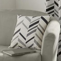 Kato Chevron Stripe Cushion Cover - Black Grey