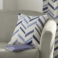 Kato Chevron Stripe Cushion Cover - Blue Cream