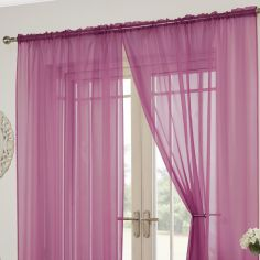 Lucy Slot Top Pair of Voile Curtains - Cerise Pink