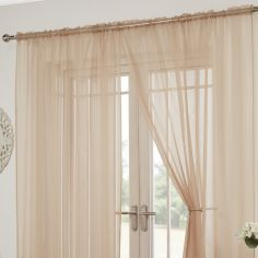 Lucy Slot Top Pair of Voile Curtains - Coffee Beige