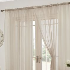 Lucy Slot Top Pair of Voile Curtains - Natural Cream