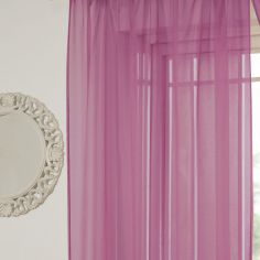 Lucy Eyelet Ring Top Voile Curtain Panel - Cerise Pink
